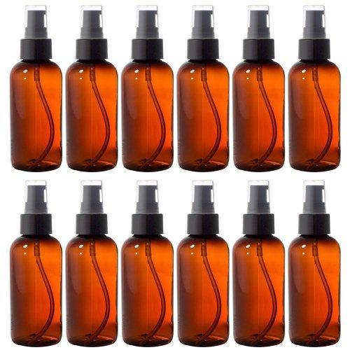 Amber 4 oz Boston Round PET Bottles (BPA Free) with Treatment Pump (12 Pack) + - Bottles Pet Plastic Boston Round