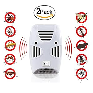 MangGou Pest Control,Ultrasonic Pest Repellent,Electronic Plug in Pest Reject,Pack of 2 - Repels Mice, Rats, Roaches, flies ,Mosquito, Spiders, Ants & Other Insects,Non-toxic Environment-friendly