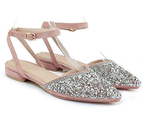 Knöchelriemchen Rosa mit Paillette Schnalle Aisun Geschlossen Sandale Damen Zehen Glitzer Spitze R4x8wPvqY