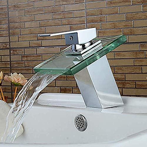 Honana 蛇口, 現代シルバーホワイトガラスの浴室のシンクの蛇口 - 実用的な美しい滝シングルハンドルワンタップ/真鍮 キッチン蛇口 混合水栓