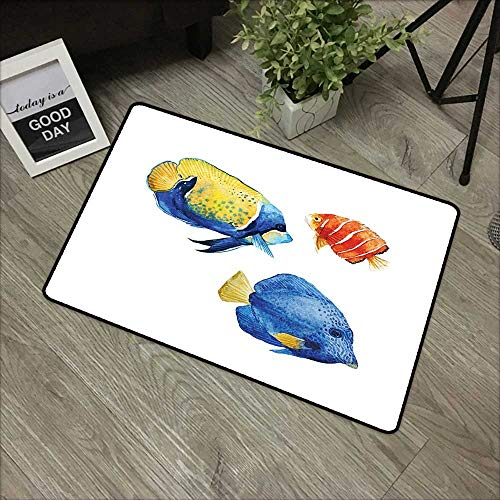 Printed Door mat W16 x L24 INCH Fish,Tropical Aquarium Life Discus Fish and Goldfish in Different Patterns,Azure Blue Yellow Scarlet Easy to Clean, Easy to fold,Non-Slip Door Mat Carpet