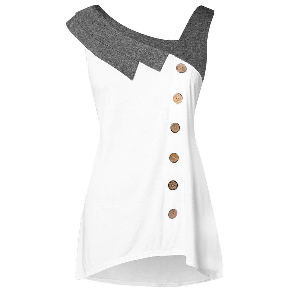 Xavigio_Women Tops Women's Plus Size Skew Neck Asymmetric Tank Top Sleeveless Button Down Camis T-Shirt Blouse White