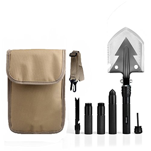 CATWALK Military Camping Shovel, Tactical Folding Shovel Multitool, High Carbon Steel Entrenching Tool with Pouch