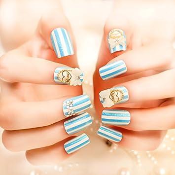 Amazon Com Coolnail 24pcs Summer Sea Blue False Nails Blue White