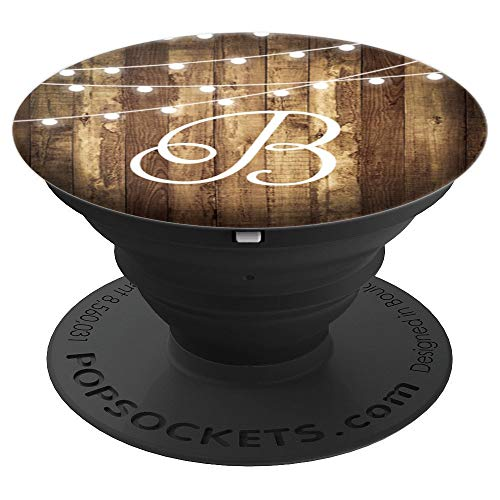 B Monogram Rustic Letter Wood Grain Wooden Look Name Initial - PopSockets Grip and Stand for Phones and Tablets