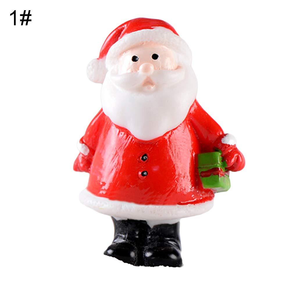 periwinkLuQ Christmas Ornament 1Pc Resin Snowman Santa Socks Figurine Mini Crafts Fairy Garden Bonsai Decor Kids Gift #Christmas Tree