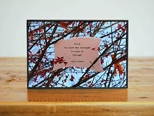 Trust Your Strength Inspirational Poem Small Framed Photo Artwork Sky Blue Nature Gift 4x6