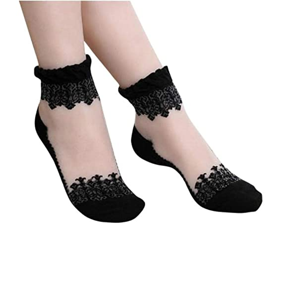 DOGZI Calcetines cortos, Ultrafino Transparente Hermosa Cristal Cordón Elástico Calcetines cortos Calcetines de estar por casa: Amazon.es: Ropa y accesorios