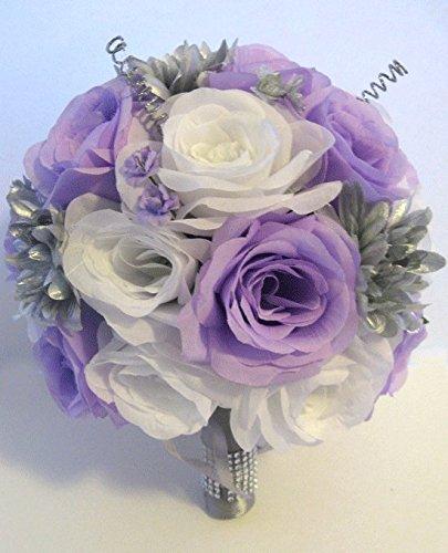 Amazon wedding silk flowers bridal bouquet lavender lilac wedding silk flowers bridal bouquet lavender lilac silver gray 17 piece package artificial centerpiece arrangements quot mightylinksfo