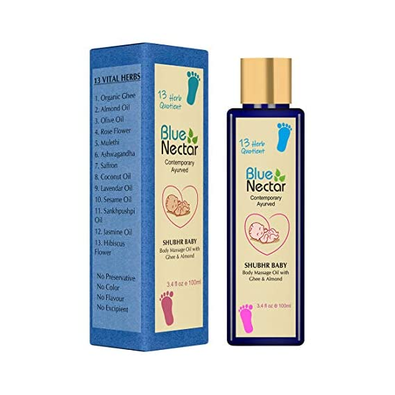 Blue Nectar Ayurvedic Baby Massage Oil with Organic Ghee, Almond Oil & Vitamin E for Healthy Babies (100ml)