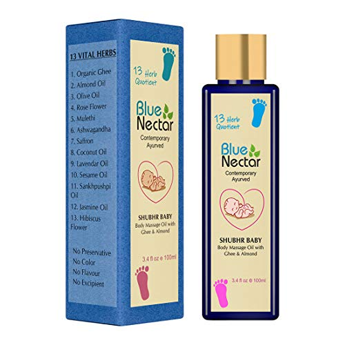 Blue Nectar Ayurvedic Baby Massage Oil with Organic Ghee, Almond Oil and Vitamin E for Healthy Babies (3.4 fl oz)