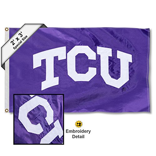 College Flags and Banners Co. Texas Christian Horned Frogs 2x3 Foot Embroidered Flag