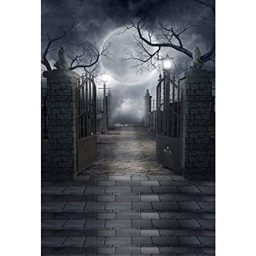Purple GO2 Halloween Photography Backdrop, 35ft/100150cm Antique Full Moon Night Brick Wall Wood Floor Backdrop for Studio Props Photo Backdrop]()