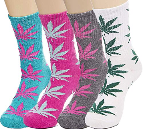 4pair-pack Marijuana Weed Leaf Printed Cotton High Socks, Mix Colors, fit for shoe size 7-11 (A match)
