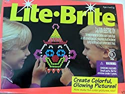 Classic 1990 Lite Brite Large Retangular Unit With Pegs & Drawing Sheets