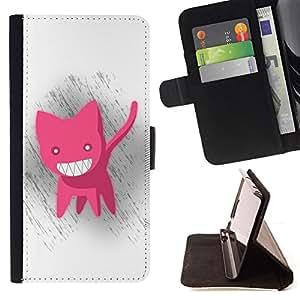 BullDog Case - FOR/Samsung Galaxy Core Prime / - / pink cat animation big white teeth evil smile /- Monedero de cuero de la PU Llevar cubierta de la caja con el ID Credit Card Slots Flip funda de cuer
