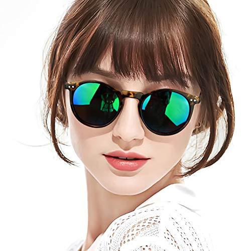 (SODQW Vintage Round Polarized Sunglasses for Women, UV400 Protection for Driving Fishing (Tortoise Frame/Light Blue Green Lens))