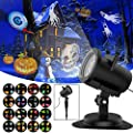 Halloween Chrismas Projection Light Outdoor for Kids LED Projector Light -6W IP65 Waterproof Landscape Spotlight for Indoor Outdoor Holiday Gobos Romantic Decoration, Motion Image 16 Slides