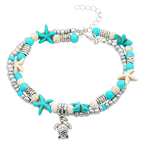 YouMiYa Graduation Gifts For New Design Shell Anklet Beads Starfish Anklets For Women Multi Layer Bracelet Handmade Bohemian Leg Jewelry Sandals Gift (Style ()