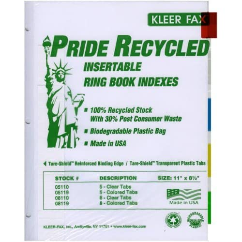 Discount 3 Ring Binder Index Dividers - (5 packages) each package includes 5 colored tabs