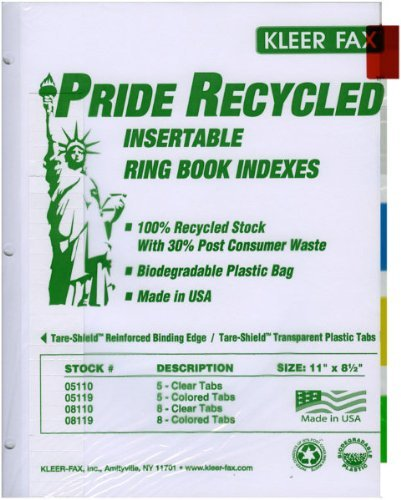 3 Ring Binder Index Dividers - (5 packages) each package includes 5 colored tabs