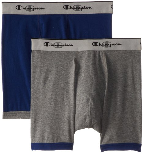 Champion Men's 2-Pack Performance Stretch Boxer Brief, Charcoal Heather/Blue Depths, Small
