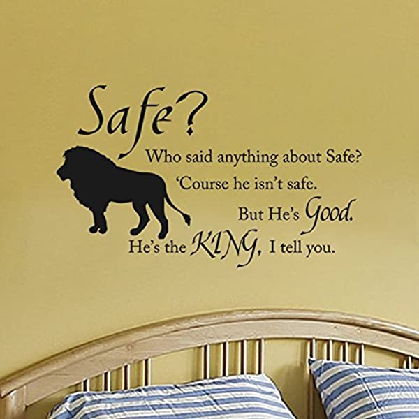 Amazon Com Wall Decal Decor Chronicles Of Narnia Aslan Safe Wall Quote Wall Decal Vinyl Art Stickers For Children Room Baby Nursery Classroom Black 13 H X22 W Kitchen Dining