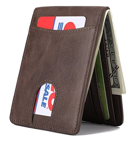 - Mens Leather Wallet Slim Front Pocket Wallet Billfold ID Window RFID Blocking - Coffee02