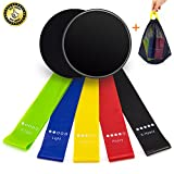 UJoylify Resistance Bands + Gliding Discs Core Sliders, Exercise Resistance Loop Bands (Set 5) &Dual Sided Exercise Sliders Discs (Set 2) With Carry Bag For Home GYM Yoga,Pilates,Crossfit Fitness