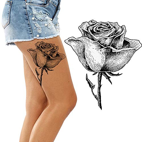(Weekend tattoos Big Large Full Black Roses Flower for Adult Women Body Leg Back Rose Temporary Tattoo tansfer Paper Body Art Sticker)