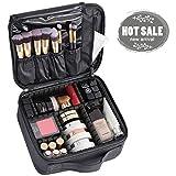 Makeup Bag,Portable Makeup Train Case Waterproof Toiletry Organizer Cosmetic Case Storage Organizer with Adjustable Divider, Black