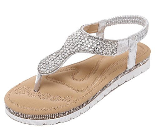 Sandal Thong Women's Chickle 9 US 5 Silver Flat W8qHWnxwz7