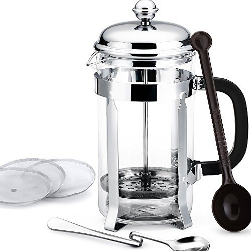 Best Price! Homitt 34oz French Press Coffee Maker & Tea Maker (8-Cups) with 3 Extra Replacement Scre...