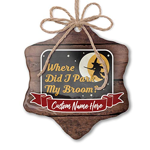 NEONBLOND Custom Family Ornament Where Did I Park My Broom? Halloween Witch Personalized Name ()
