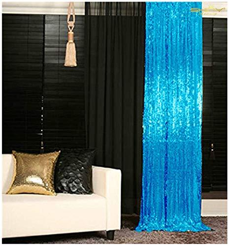 Sequin Curtains 2 Panels 2FTx8FT Turquoise Glitter Backdrop Aqua Blue Sequin Photo Backdrop Backdrop Curtains~M1120