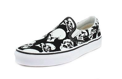 f3ea387d2546 Vans Mens U Clasic Slip ON Skulls Black White Size 3.5