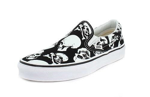 Vans Mens U Clasic Slip ON Skulls Black White Size 8 63837556c886