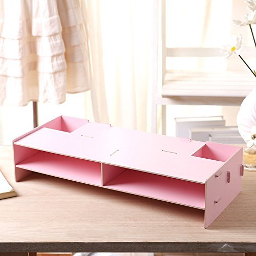 Wooden Monitor Stand Riser with Tier Storage Organizer,Desktop Organizer Extra Space for Keyboard Pen Slots, Document Sorter Shelf Letter Tray File Holder Paper Storage for Home/Office (Pink)