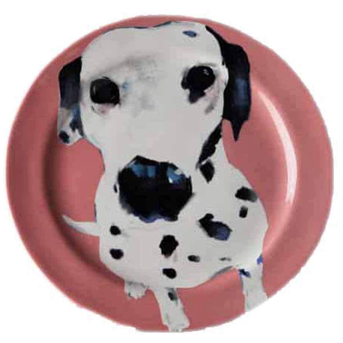 Dalmatian Pink Sally Muir Anthropologie Dog-a-Day Stoneware Dessert Plate