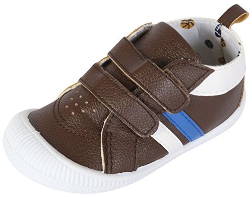 Gerber Baby Boys Early Walker Double Strap Sneakers, Chocolate, 6 M US (Double Strap Sneakers)
