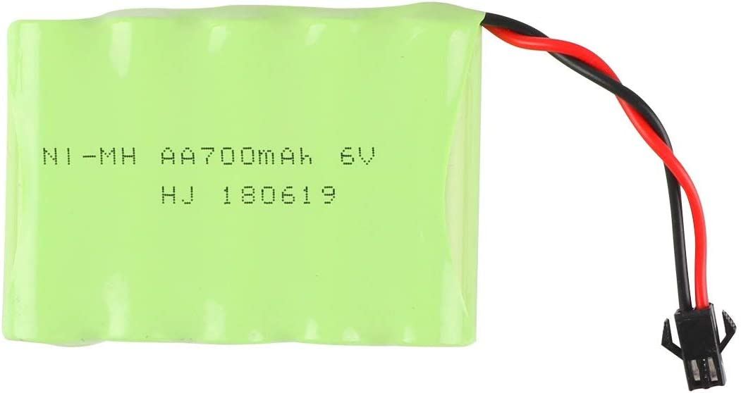 Crazepony-UK NI-MH Battery 6v 700mAh Akku Universal for 333-GS02B 333-GS03B 333-GS05B 333-GS06B Spare Part Replacement Remote Control RC Cars Vehicles by