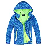Jingle Bongala Boys Girls Rain Jacket Waterproof Coat Raincoat Hooded Light Windbreaker for Camping Hiking-BlueArrow-120