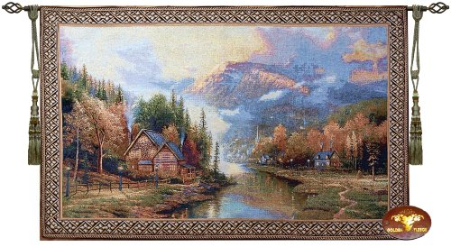 Beautiful Twilight Cottage Fine Tapestry Jacquard Woven Wall Hanging Art - Fine Art Hanging Rods Wall