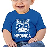 Meowica America Patriot Cat 6 - 24 Months Baby T-shirts Round Neck Shirt RoyalBlue