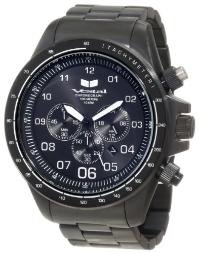 Vestal Men's ZR3021 ZR-3 Black Ion Plated with White Lume Chronograph Watch ()