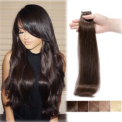 100% Remy Tape in Human Hair Extension Dark Brown #2 18'' Professional Long Straight Thick Seamless Skin Weft Hair Bonding Double Sided Tape 20Pcs/30g + 10pcs Free Tapes…