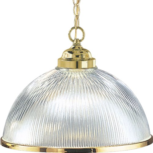 Progress Lighting P5103-10 1-Light Chain-Hung Prismatic Glass Dome, Polished Brass