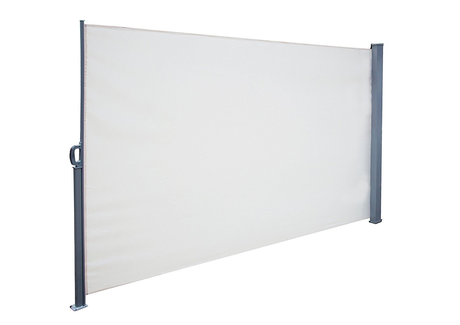 SimLife Privacy Screen Shade Retractable Side Awning Patio Balcony Outdoor with Steel Support Pole, White