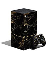 MightySkins Skin Compatible with Xbox Series X Bundle - Black Gold Marble   Protective, Durable, and Unique Vinyl Decal wrap Cover   Easy to Apply and Change Styles   Made in The USA