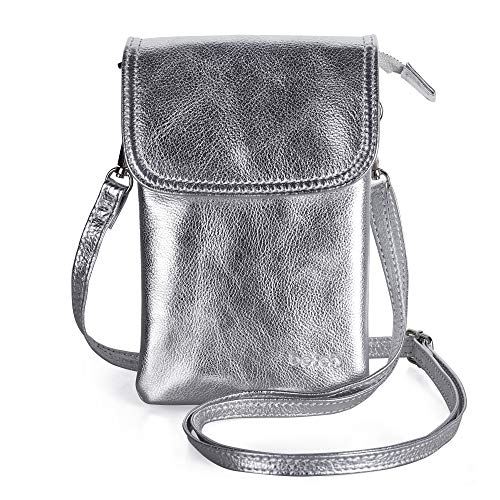 Befen Cell Phone Crossbody Wallet Purse, Women Small Leather Crossbody Bag - Fit iPhone Xs Max (Silver)